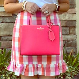 J.Crew Factory Pink & Orange Ruffle Gingham Skirt